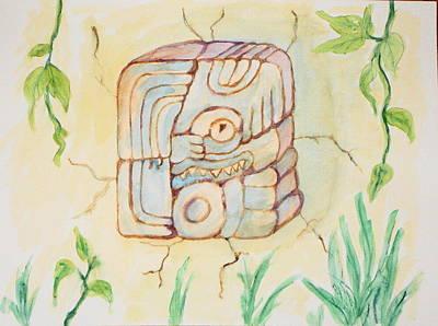 Stone Painting - Mayan Glyph ''utchi''  by KD Martel