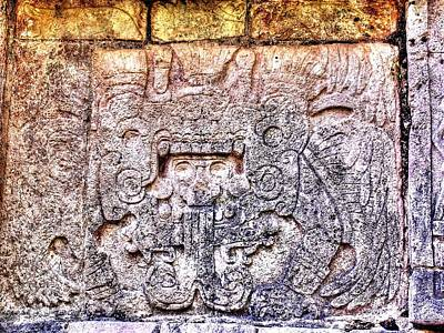 Mayan Hieroglyphic Carving Print by Paul Williams