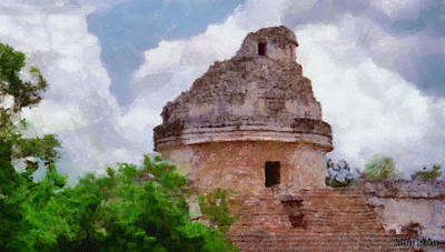 Archaeology Painting - Mayan Observatory by Jeff Kolker
