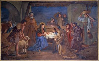 Man Holding Baby Photograph - Mayer Ludwig, Nativity, 1891, 19th by Everett