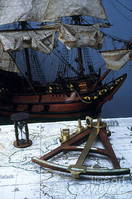 Seventeenth Century Photograph - Mayflower Model With Quadrant by Fred Maroon