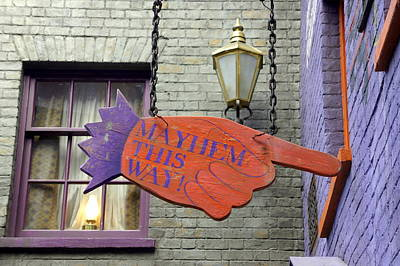 Directional Signage Photograph - Mayhem This Way by Laurie Perry