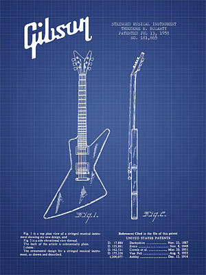 Acoustic Guitar Digital Art - Mccarty Gibson Electrical Guitar Patent From 1958 - Blueprint by Aged Pixel