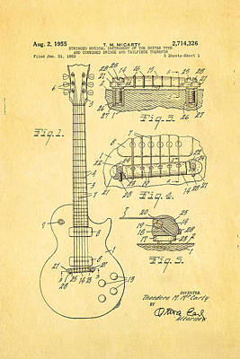 Mccarty Gibson Les Paul Guitar Patent Art 1955 Print by Ian Monk