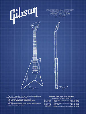 Acoustic Guitar Digital Art - Mccarty Gibson Stringed Instrument Patent From 1958 - Blueprint by Aged Pixel