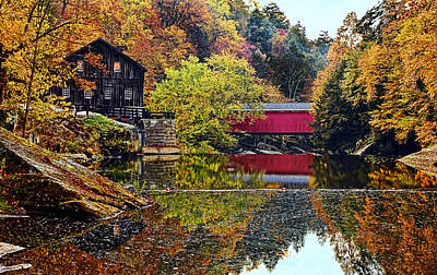 Mcconnell's Mill And Covered Bridge Print by Marcia Colelli