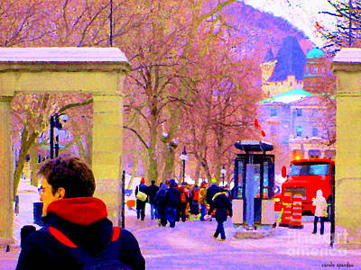Montreal Cityscenes Painting - Mcgill Campus Eager Students Enter Roddick Gates Montreal Collectible Art Prints Carole Spandau  by Carole Spandau