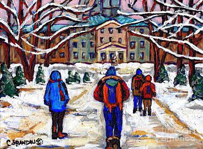 Montreal Buildings Painting - Winter Classes Mcgill University Paintings Montreal Scenes Canadian Art Carole Spandau by Carole Spandau