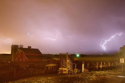 Mcintosh Farm Lightning Thunderstorm View Print by James BO  Insogna