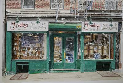 Storefront Painting - Mcnultys Coffee by Anthony Butera