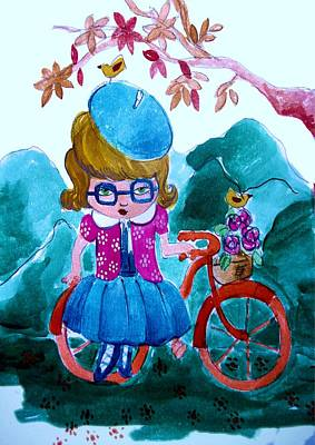 Little Girl Painting - Me And My Bicycle by Cris Pires