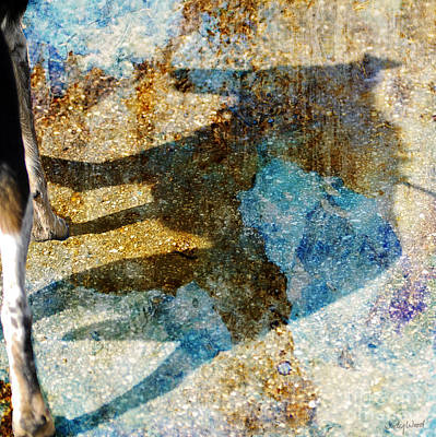 Dog Walking Digital Art - Me And My Shadow by Judy Wood