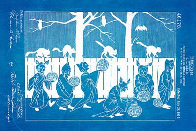 Mead Halloween Sheet Patent Art 1914 Blueprint Print by Ian Monk