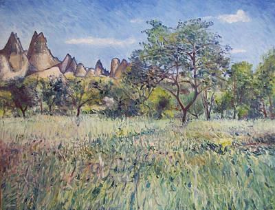 Painting - Meadow At Goreme Cappadocia Turkey  by Enver Larney