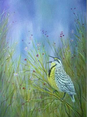 Meadowlark Painting - Meadowlark by Xochi Hughes Madera