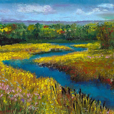 Cattails Painting - Meandering Stream by David Patterson
