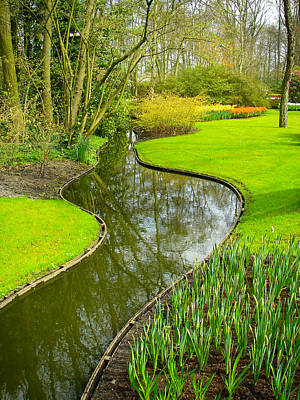 Meandering Stream Through Keukenhof Gardens Near Lisse Netherlands Print by Robert Ford
