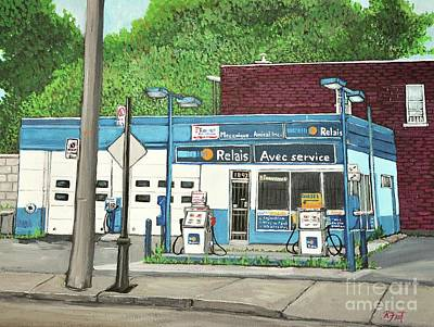 Gas Station Painting - Mecanique Amical Inc. Pointe St. Charles by Reb Frost