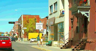 Outremont Painting - Mecanique Generales Lo Dico Garage Et Divine Coiffure Van Horne Montreal City Scene Carole Spandau by Carole Spandau