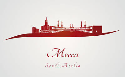 Mecca Digital Art - Mecca Skyline In Red by Pablo Romero
