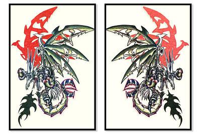 Gorgon Painting - Mech Dragons Away by Shawn Dall