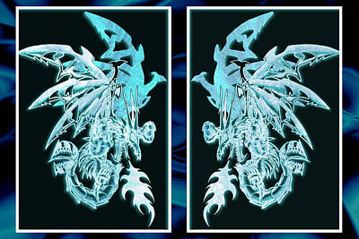 Raging Mixed Media - Mech Dragons Diamond Ice Crystals by Shawn Dall