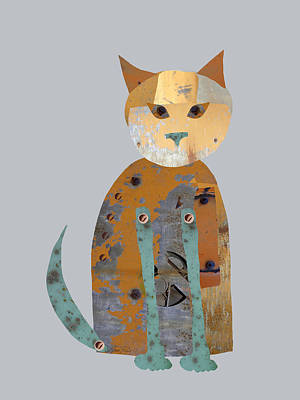 Mechanical Cat Print by Ann Powell