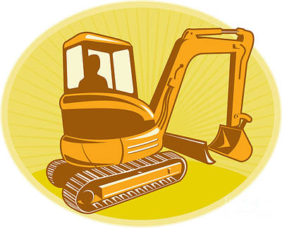Mechanical Digger Excavator Retro Print by Aloysius Patrimonio