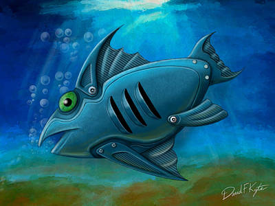 Aquatic Digital Art - Mechanical Fish 4 by David Kyte