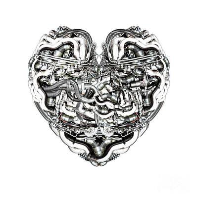 Mechanical Heart With Brain Print by Diuno Ashlee