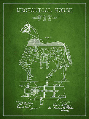Horse Drawing Drawing - Mechanical Horse Patent Drawing From 1893 - Green by Aged Pixel