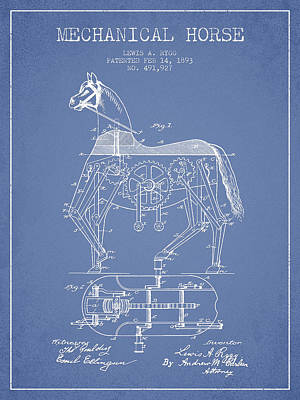 Horse Drawing Drawing - Mechanical Horse Patent Drawing From 1893 - Light Blue by Aged Pixel