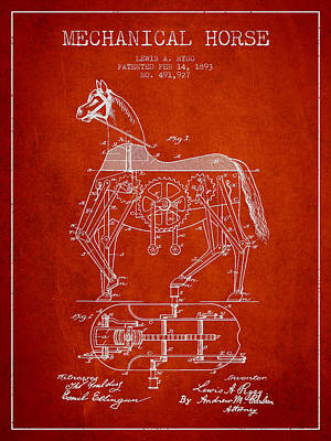 Horse Drawing Drawing - Mechanical Horse Patent Drawing From 1893 - Red by Aged Pixel