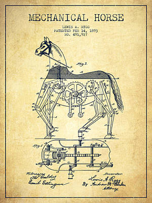 Horse Drawing Drawing - Mechanical Horse Patent Drawing From 1893 - Vintage by Aged Pixel