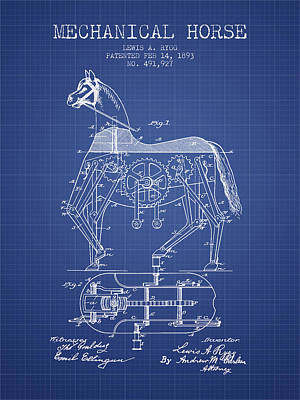 Mechanical Horse Patent From 1893- Blueprint Print by Aged Pixel
