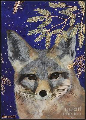 Fox Kit Painting - Medianoche by Sue Betanzos