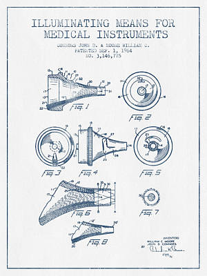 Medical Instrument Patent From 1964 - Blue Ink Print by Aged Pixel