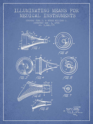 Medical Instrument Patent From 1964 - Light Blue Print by Aged Pixel