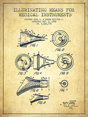 Medical Instrument Patent From 1964 - Vintage Print by Aged Pixel