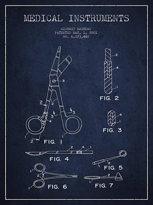 Medical Instruments Patent From 2001 - Navy Blue Print by Aged Pixel
