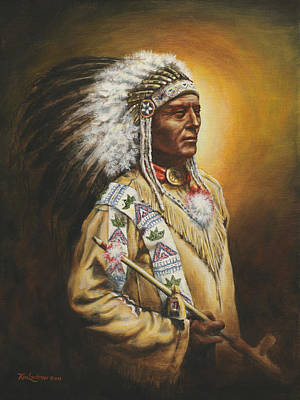Indian Warrior Painting - Medicine Chief by Kim Lockman