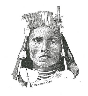 Pen Drawing - Medicine Crow by Clayton Cannaday