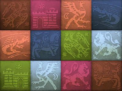 Medieval 12-tile Collage Spring Colors Print by S L Kellaway