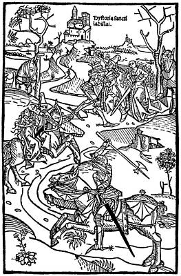Medieval Battle Engraving Chronicon Pictum Print by
