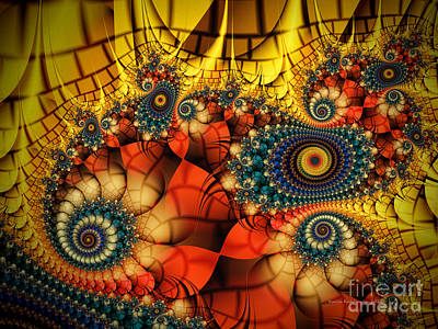 Geometric Abstraction Digital Art - Medieval Ceremonial-fractal Art by Karin Kuhlmann