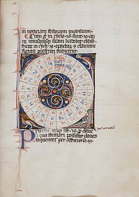 History Of Science Photograph - Medieval Chart Of The Decemnovenale Cycle by Renaissance And Medieval Manuscripts Collection/new York Public Library