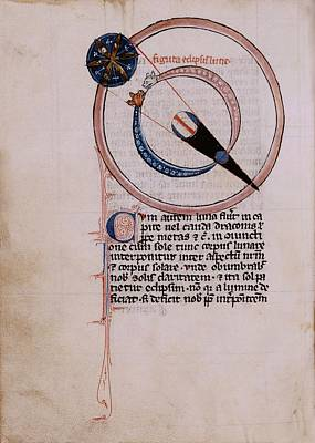 Medieval Depiction Of A Lunar Eclipse Print by Renaissance And Medieval Manuscripts Collection/new York Public Library