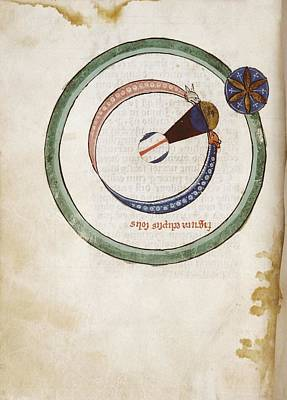 Medieval Depiction Of A Solar Eclipse Print by Renaissance And Medieval Manuscripts Collection/new York Public Library