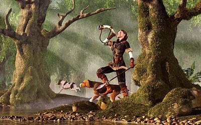 Hunting Dog Digital Art - Medieval Huntress by Daniel Eskridge