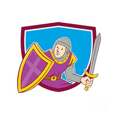 Medieval Knight Shield Sword Cartoon Print by Aloysius Patrimonio